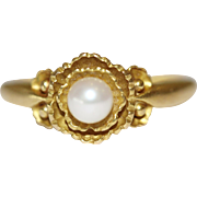 Art Deco Danish Gold Pearl Ring signed Georg Jensen