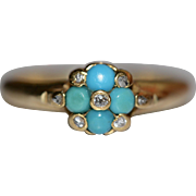 Antique Victorian Turquoise Diamond Forget-Me-Not Ring