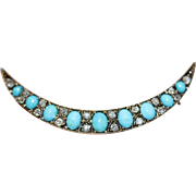 Antique Victorian Turquoise Diamond Crescent Brooch Pin