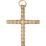 Antique Victorian Gold Natural Pearl Cross Pendant