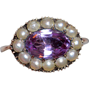 Rare Natural Pink Topaz Pearl And Gold Cluster Ring