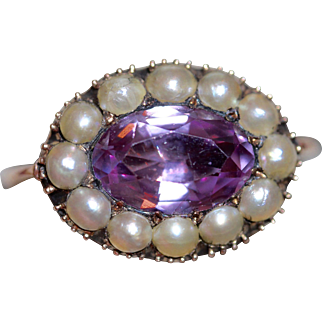 Rare Antique Georgian Natural Pink Topaz and Pearl Ring