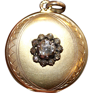 Antique Dutch Gold and Rose Cut Diamond Locket Pendant circa 1910