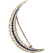 Antique Victorian 15 Carat Gold Natural Split Pearl Enamel Crescent Brooch Pin
