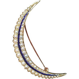 Antique Victorian 15 Carat Natural Pearl Enamel Crescent Brooch Pin