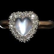 Antique Victorian Moonstone Diamond Heart Ring