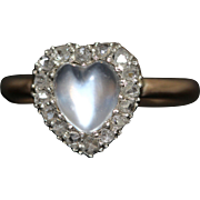 Moonstone Diamond Gold And Silver Heart Ring