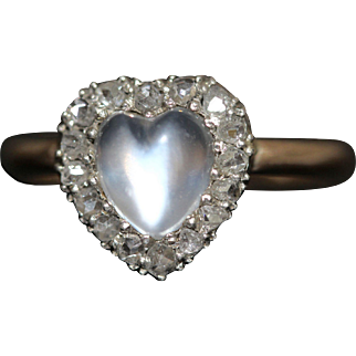 Antique Victorian Moonstone Diamond Heart Ring