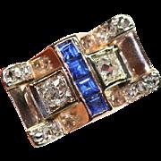 Amazing Vintage Retro 18 Carat Gold Sapphire Diamond Ring ca 1940