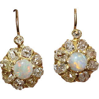 Antique Victorian Opal Diamond Cluster Earrings Circa 1890