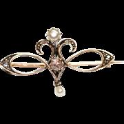 Antique Art Nouveau Dutch Gold Diamond Pearl Brooch Pin
