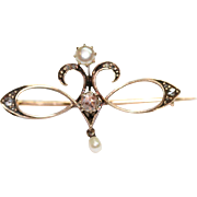 Antique Art Nouveau Dutch 14 carat gold, rose cut diamond and pearl brooch/pin - circa 1906-1910