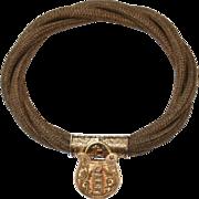 Antique English Victorian 18 carat gold Mourning Hair bracelet and 18 carat yellow gold Padlock