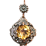 Beautiful Antique Victorian Arts & Crafts silver floral citrine earrings with 15 carat gold hooks- circa 1890