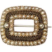 Antique Georgian 9 carat gold pearl and hair mourning brooch - circa 1810-1820