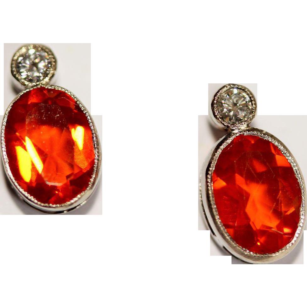 Vintage Art Deco Platinum, Fire opal and Diamond stud ...