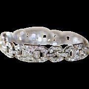 Art Deco French Platinum Diamond Bracelet  est 5.6 carats