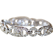 Art Deco French Platinum Diamond Bracelet  est 5.6 carats