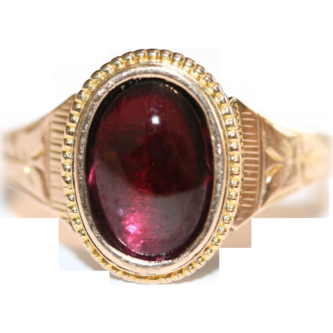 Antique Engraved 9 Carat Rose Gold And Cabochon Garnet