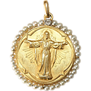 Antique Edwardian 18 carat yellow gold and platinum diamond and pearl Christ medallion pendant - circa 1910