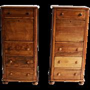Pair of American fruitwood-walnut secretaries
