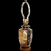 A Japanese Satsuma pottery vase, mounted as a lamp