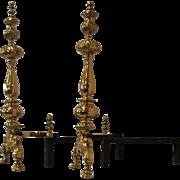 A pair of gilt-brass andirons