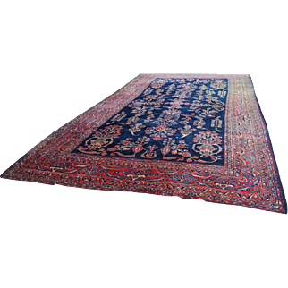 Antique Persian Hand Knotted Sarouk Blue Wool Area Rug Oriental vintage