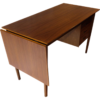 Arne Vodder Mid-Century Danish Walnut Drop Leaf Desk