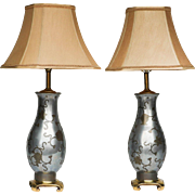 Beautiful Aluminum Table Lamps pair