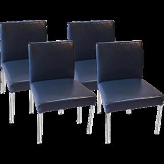 Brayton International Modern Leather Side Dining Chairs four