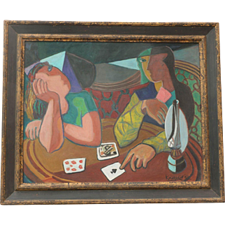 Cubist Abstract Oil Painting Card Players Signed