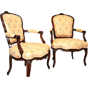 Pair of French 19th Century Louis XV style, chairs