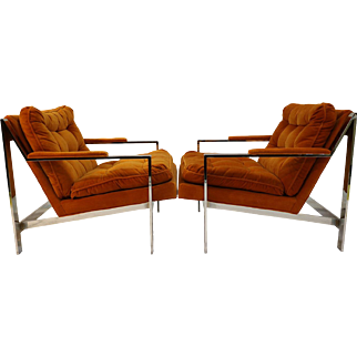 Cy Mann Chrome Lounge Chairs Milo Baughman style Pair