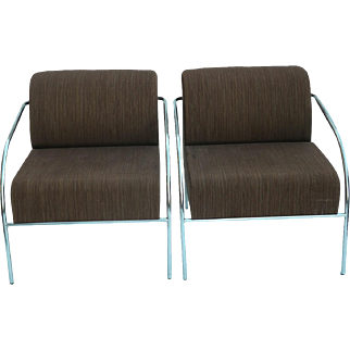 Pair Mid Century Chromed Upholstered Lounge Chairs