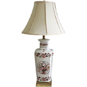 A Chinese white porcelain and polychrome decorated lamp