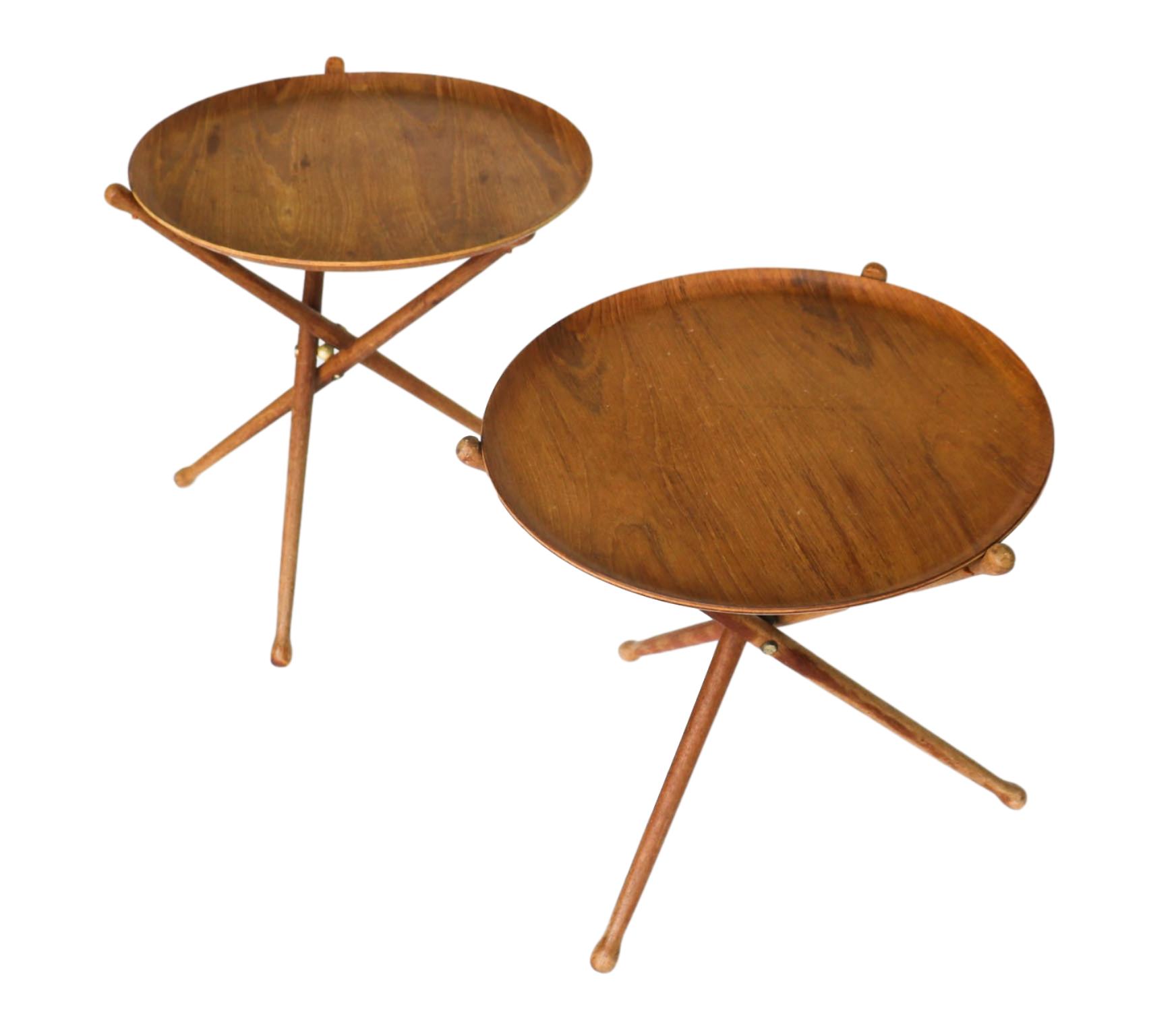 Danish Modern Nils Trautner teak folding tray side tables pair