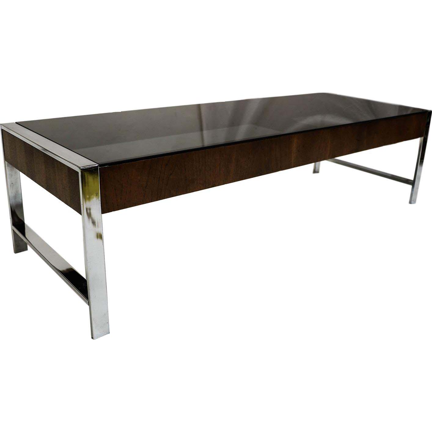 Milo Baughman Chrome Coffee Table: Mid Century Chrome Smoked Glass Coffee Table Milo Baughman