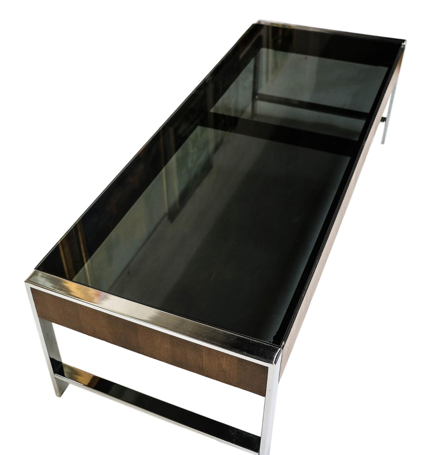 Mid Century Chrome Smoked Glass Coffee Table Milo Baughman Style