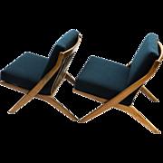 Mid-Century Folke Ohlsson Dux Scissor Lounge Chairs Pair