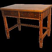 Figured Walnut and Maple Side Table Desk
