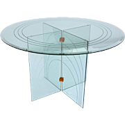 Mid Century Glass Round Dining Table