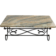 Granite Topped Coffee Table Wrought Iron Metal Base