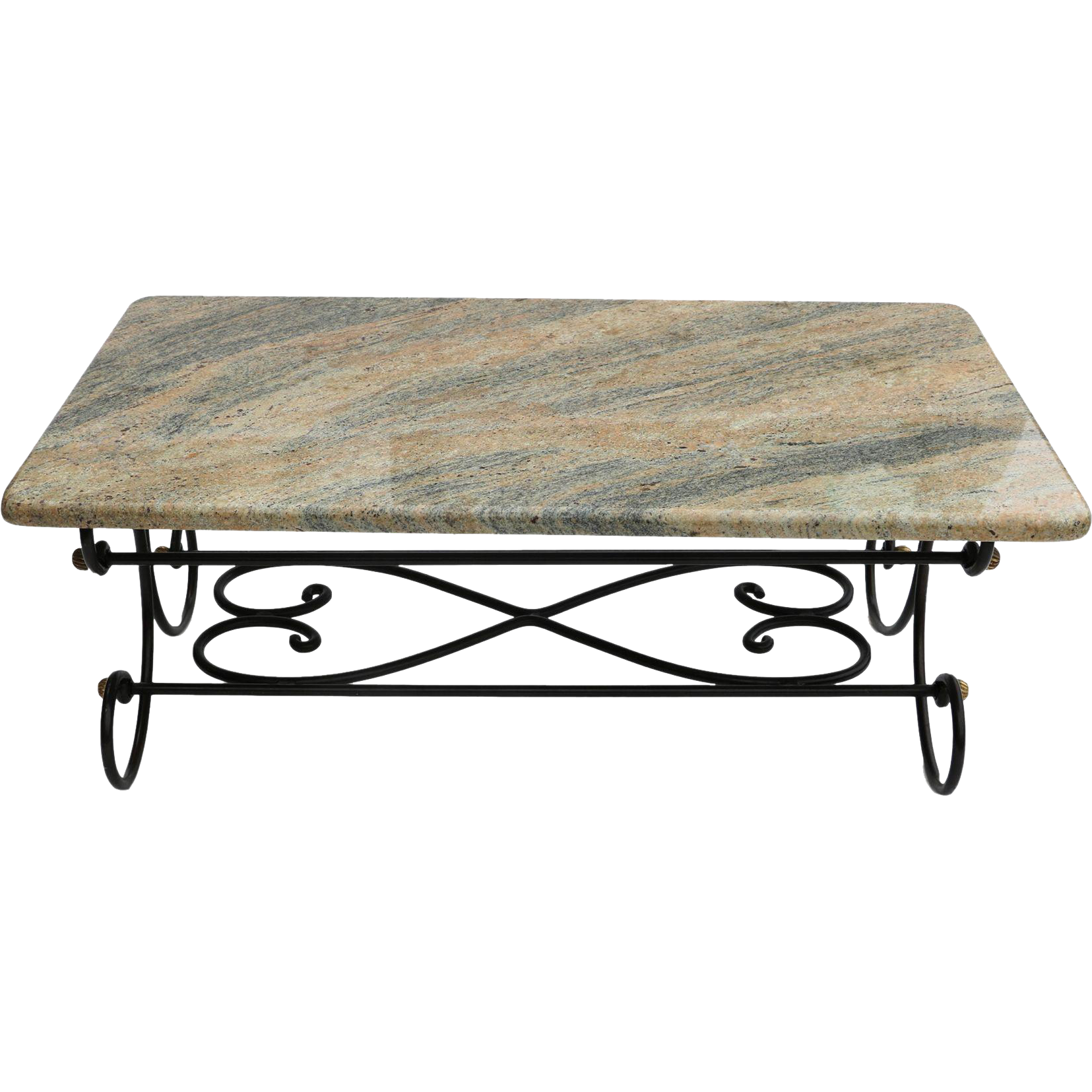 Granite topped coffee table wrought iron metal base from for Wrought iron coffee table base