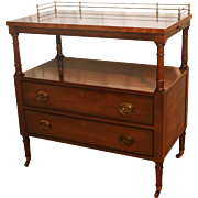 Kittinger Mahogany Rolling Buffet bar Server Cart with Brass Gallery