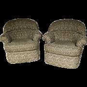 Gorgeous Pair Mid Century Modern swivel lounge chairs barrel back