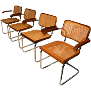 Marcel Breuer Cesca Style Cane Arm Chairs