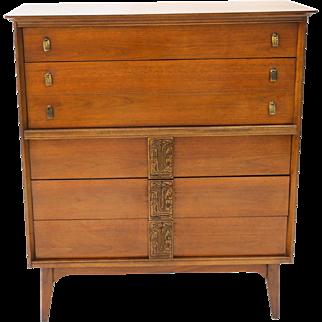 Mid Century High Boy Dresser Bassett