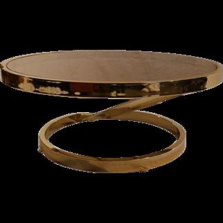 Milo Baughman mid century modern Glass Coffee Table Zig Zag Base