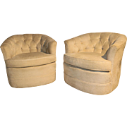 Milo Baughman Style Mid Century Swivel Club Lounge Chairs Pair